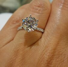 Certified14K White Gold 4.00CT White Solitaire Round Cut Diamond Engagement Ring