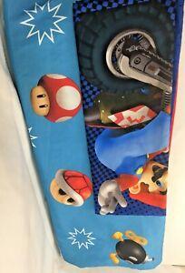 Super Mario Kart Nintendo Wii Twin Flat Sheet & Pillow Case Luigi Bombs Mushroom