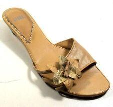 "Audrey Brooke ""Gal"" Women's Flower Beige Leather Slip On Slides Sandals 9M"