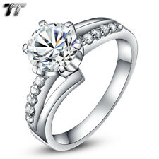 TT RHODIUM 925 Sterling Silver 2 Carat Engagement Wedding Ring (RW25)
