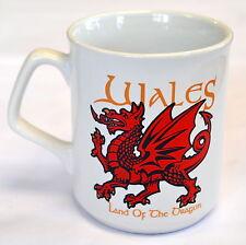 WALES, LAND OF THE DRAGON design WHITE MUG with dragon motif , Cymru, Welsh