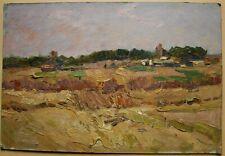 Russian Ukrainian Soviet Oil Painting Landscape impressionism wheat field
