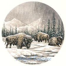 Ceramic Decals Buffalo Animal Winter Mountain Scene