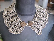 HANDMADE CROCHETED COLLAR NECKLESS SOFT BROWN COLORS+GOLD THREAD ONE OF A KIND