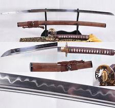 CLAY TEMPERED FOLDED STEEL BLADE EAGLE TSUBA JAPANESE SAMURAI SWORD KATANA SHARP