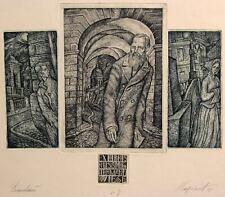 DOSTOEVSKY Original etching by Leonid STROGANOV, Russian Ex Libris Artist genre