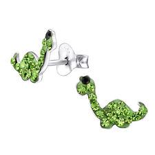 New Green Crystal Dainty Dinosaur Diplodocus Sterling Silver Stud Earrings