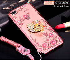 3D Cute Bling Diamond Hello Kitty Ring Holder Stand Chrome Soft Clear Case Cover