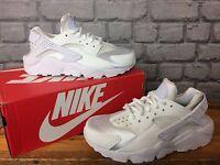 NIKE LADIES UK 3,4,5,6,7 WHITE HUARACHE TRAINERS SILVER TOE BOX RUNNING