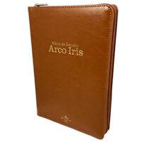 Biblia de Estudio Arco Iris con Cierre Reina Valera 1960 piel miel con indice