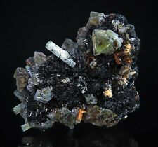 Green FLUORITE and Beryl on Tourmaline crystals * Erongo Mountains * Namibia