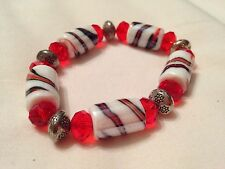 Elastic bracelet, red and white stripy glass beads with silver beads (New Look)