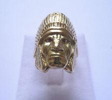 Bague or jaune Tête d'indien avec yeux en rubis