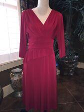 DAVID MEISTER Womens 8 Stretch Drape Empire Sheath Dress Knee-Length Red Solid