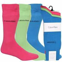 Calvin Klein 3-Pack Flat Knit Men's Socks, Blue/Lime/Pink One Size