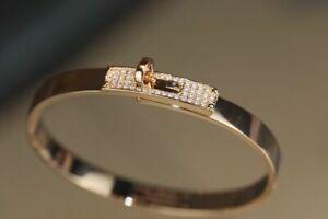 Authentic Diamond Hermes Kelly Bracelet 18kt ROSE Gold.