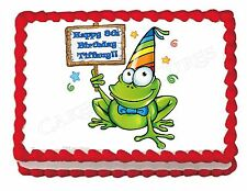 Frog party edible party cake topper decoration frosting sheet image