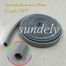 Gray Heat Protector Woven Sleeve Spark Plug Wire High temp 10mm ID X 25FT USA