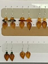 Baltic Amber Leaf 925 Headpin Dangle Earrings on 925 Sterling Silver Wires