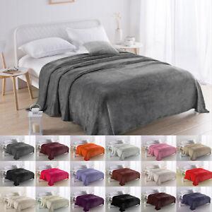 Faux Fur Fleece Soft Blanket Sofa Throw Warm Cosy Cuddle Snug Single Double Size