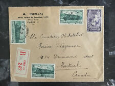 1938 paris France Registered cover to Montreal Canada