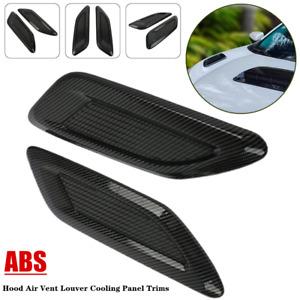 2Pack Universal Car Hood Air Vent Louver Cooling Panel Trims Carbon Fiber Style