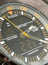 Pulsar Mens On The Go Chronograph - Digital - Analog - Orange Accents #PW6015