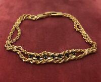 "Vintage Bracelet Gold Tone Rhinestone 7.5"""