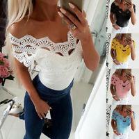 Women Lace Off Shoulder T Shirt Ladies Summer Short Sleeve Slim Tops Blouse