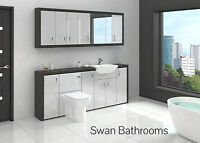 HACIENDA / LIGHT GREY GLOSS BATHROOM FITTED FURNITURE WITH WALL UNITS 2100MM