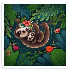 2 x 10cm Mother & Baby Sloth Vinyl Stickers - Cute Kids Laptop Sticker #30126