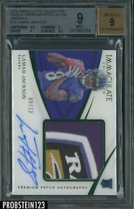 2018 Immaculate Emerald Lamar Jackson RC AUTO Ravens Patch JERSEY# 8/12 BGS 9