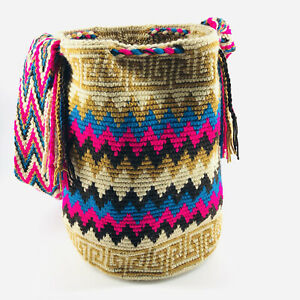 Columbian Woven Wayuu Mochila Multi Colored Bucket Bag Purse with Tassles