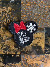 """1 Let it Snow Xmas Minnie Mouse Iron On Sew On Patch 2.5"""" L x 2.75"""" W SAME Day"""