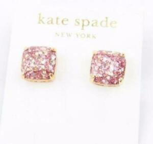 New Kate Spade New York Pink Glitter Small Square Stud Earrings