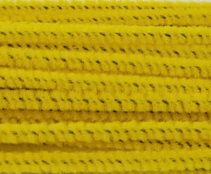 """Lot of 100 Gold Yellow Wired Chenille Stems Craft Pipe Cleaners 12"""" x 3mm 1/8"""""""
