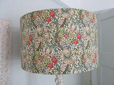 Handmade Drum Lampshade William Morris Golden Lily Minor  Green fabric 45cm