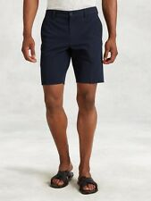 John Varvatos Mainline Navy Blue Cotton Linen Tailored Shorts 32