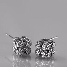 silver earrings cross flower-de-luce cube 316L stainless steel stud