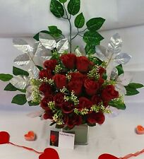 Artificial Red Rose Bouquet Silk Flowers 2 Dozen Flower Head Wedding Valentines