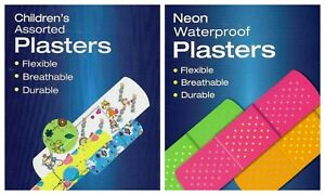 80 x PLASTERS LATEX FREE BREATHABLE DURABLE NEON WATERPROOF/CHILDREN'S ASSORTED