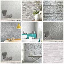 Grey Wallpaper | Brick Stone Slate Wood | Feature Wall | 3D Wallpaper