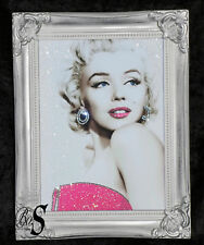 Marilyn Monroe Pink Glitter Canvas Picture Silver Shabby Chic frame, Wall Art.