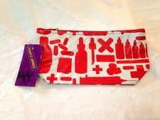 NWT Purple Jungle Designs Red White First Aid Medical Zip Gusset Bag Purse INDIA
