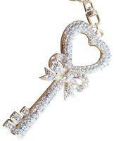 Key of Heart Bling Crystals Rhinestone Keychain Ring Holder ELEGANT #C