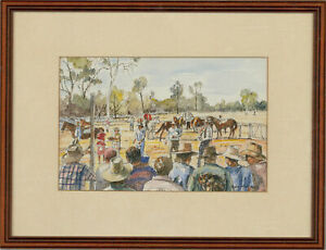 Auda Maclean - Contemporary Watercolour, Auctioning Horses at the Picnic Races