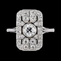 Vintage Art Deco Edwardian Engagement Ring 2Ct Round Diamond 14k White Gold Over