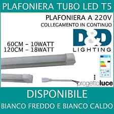 PLAFONIERA LED T5 REGLETTE NEON LED  10W 18w  Fredda e calda 60 120 CM tubo base