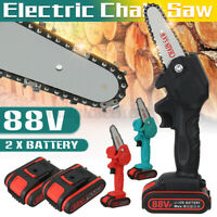 Electric Chain Saw 1080W 88VF One-Hand Saw Wood Cutter Cordless with 1/2 Battery