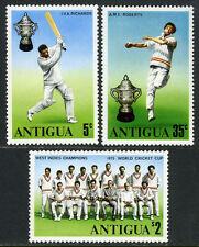 Antigua 402-404,MI 396-398,MNH. World Cricket Cup.Victory West Indies team, 1975